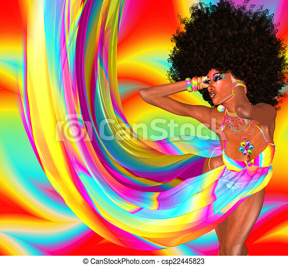 Afro Hairstyle,Sexy Girl,Disco - csp22445823