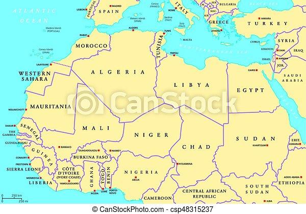 Afryka Polnocy Kraje Polityczny Mapa Mapa Polnoc