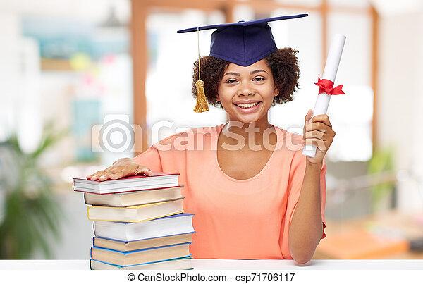 afrykanin, książki, dyplom, student, absolwent - csp71706117