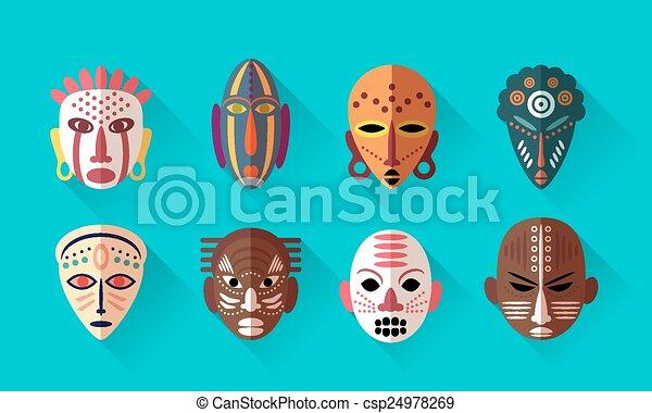 afrykanin, maska, ikony - csp24978269