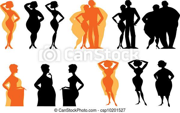 afslanken, silhouettes, mensen - csp10201527