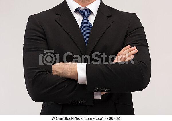 afsluiten, vastknopen, kostuum, op, zakenman - csp17706782