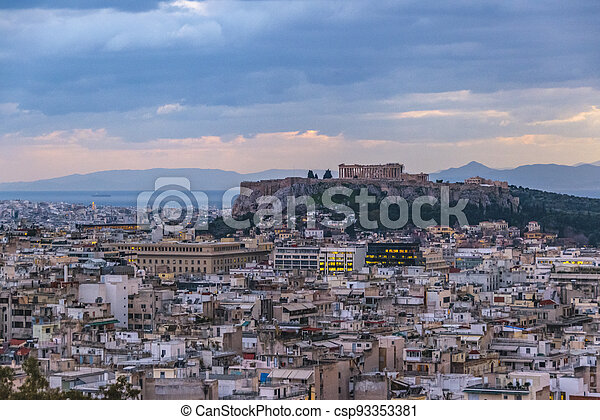 Afternoon Athens Aerial View Cityscape - csp93353381