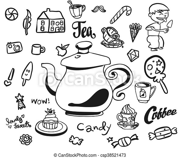 Afternoon Tea And Breakfast Doodles With Symbols For Kids Hand