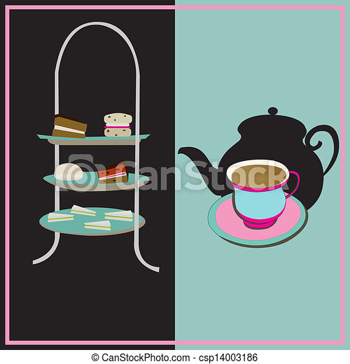 Afternoon Tea, vector retro background with a cake-stand and a teacup for a vintage tea-party - csp14003186