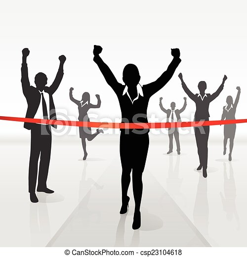 afwerking, businesswoman, rennende , winnen, kruising, lijn - csp23104618