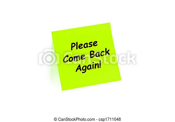 ¡Por favor vuelve! En una nota post-it - csp1711048