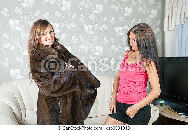 agasalho, fazer, mulher, pele, ostentação - csp9391010