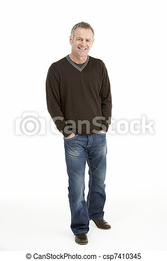 age moyen, homme, portrait - csp7410345