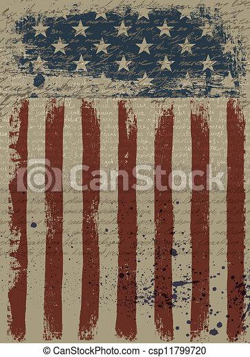 Aged American Patriotic Background. Vector illustration, EPS10. - csp11799720