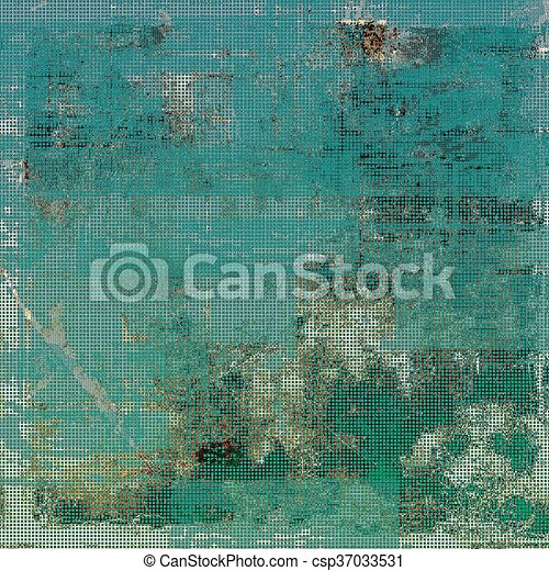 Aged background or texture. Vintage graphic composition with grunge style elements and different color patterns: brown; green; blue; gray; cyan - csp37033531
