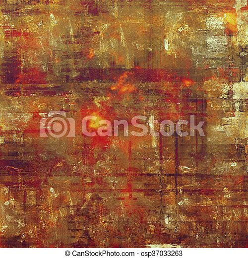 Aged background or texture. Vintage graphic composition with grunge style elements and different color patterns: yellow (beige); brown; gray; red (orange); purple (violet); pink - csp37033263