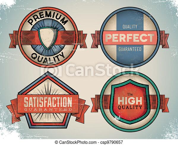 Aged colorful vintage labels - csp9790657