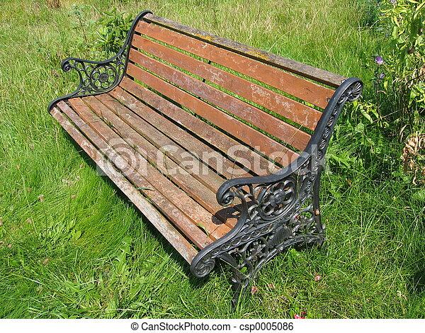 Aged Garden Bench - csp0005086