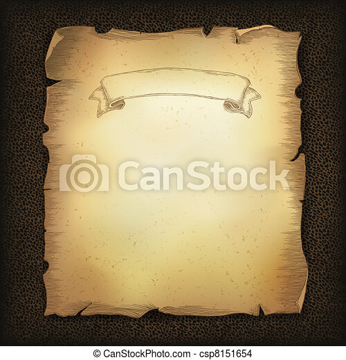 Aged old scroll parchment with ribbon image on dark brown leather texture. Vector illustration, EPS10 - csp8151654