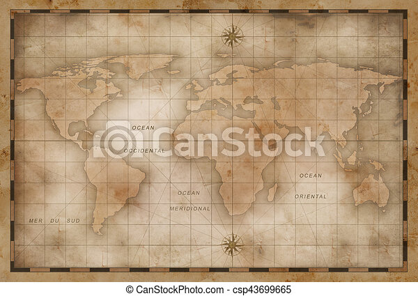 Aged or old world map stylization old nautical world map stock aged or old world map stylization csp43699665 gumiabroncs Images