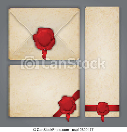 Aged paper envelope with wax seal - csp12820477