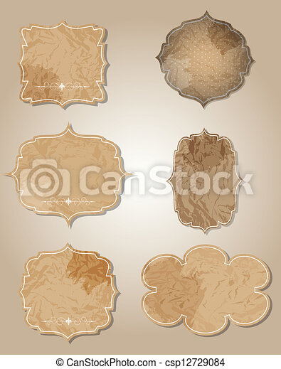 aged paper labels vector illustration - csp12729084