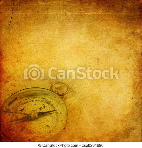Aged paper with compass - csp8284690
