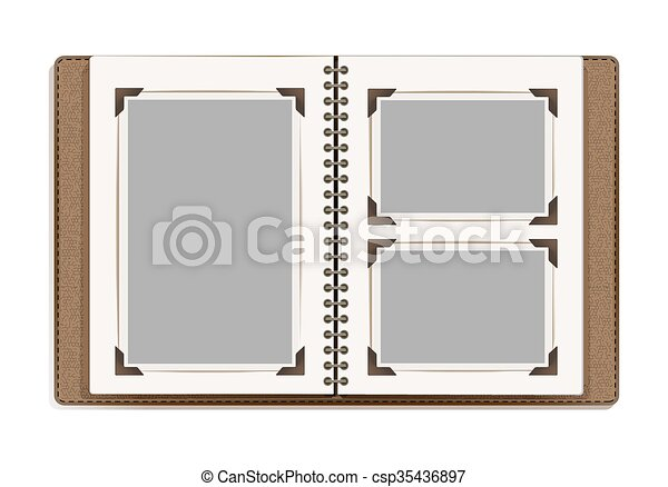 aged photo album pages with retro photo frames. vector design template - csp35436897