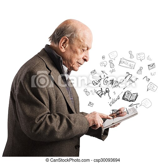 Aged reads books with tablet - csp30093694