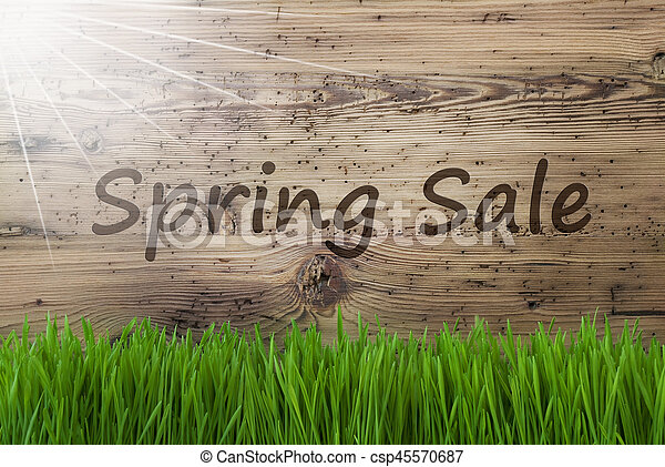 Aged Wooden Background, Gras, Text Spring Sale - csp45570687