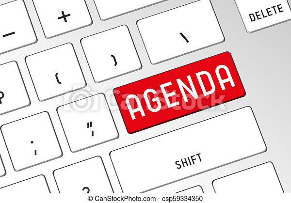 Agenda - 3D computer keyboard - csp59334350