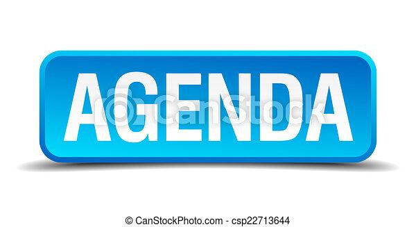 Agenda blue 3d realistic square isolated button - csp22713644
