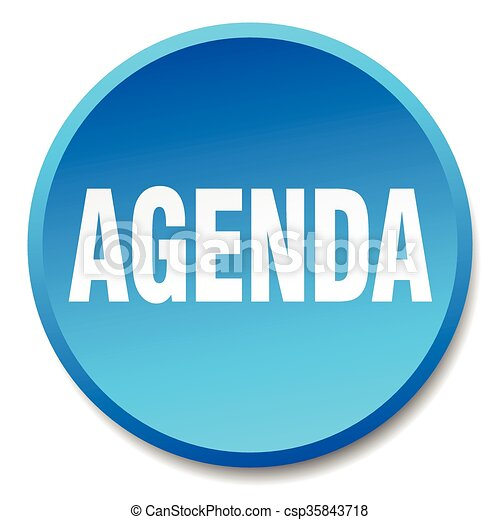 agenda blue round flat isolated push button - csp35843718
