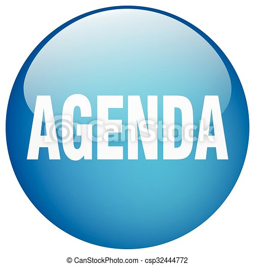 agenda blue round gel isolated push button - csp32444772