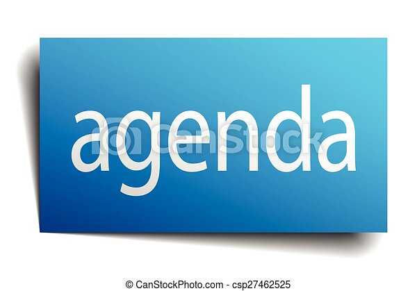agenda blue square isolated paper sign on white - csp27462525