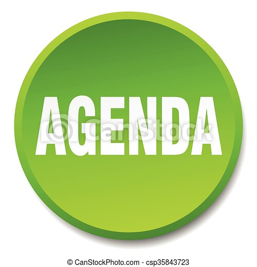 agenda green round flat isolated push button - csp35843723