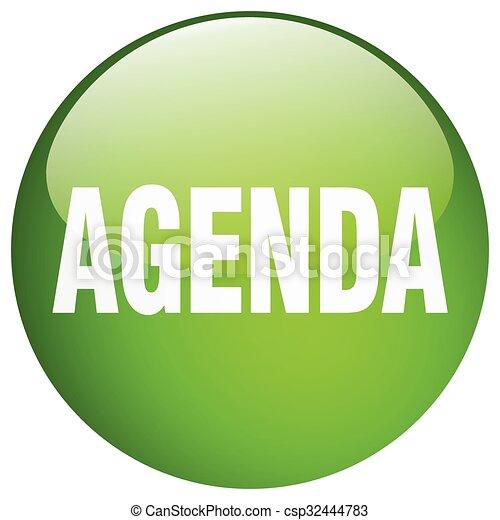agenda green round gel isolated push button - csp32444783