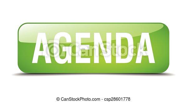 agenda green square 3d realistic isolated web button - csp28601778