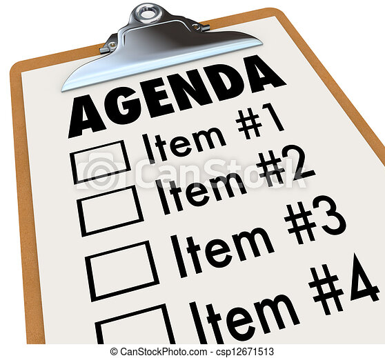 Agenda on Clipboard Plan for Meeting or Project - csp12671513