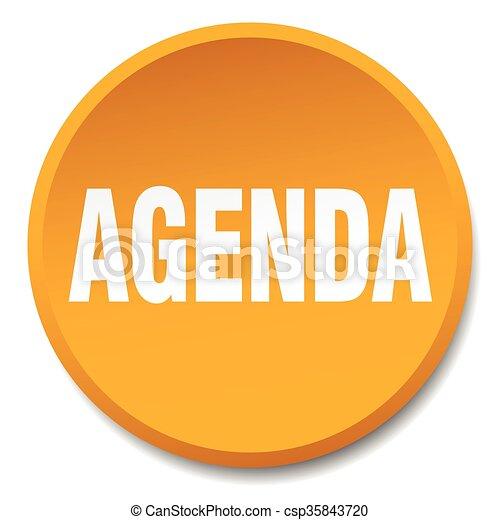 agenda orange round flat isolated push button - csp35843720
