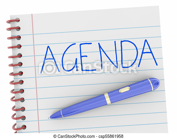 Agenda Pen Writing Word Notebook Plan 3d Illustration - csp55861958