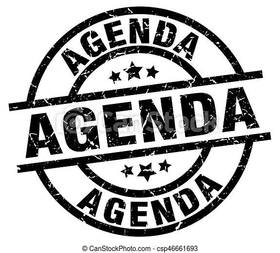 Agenda round grunge black stamp.