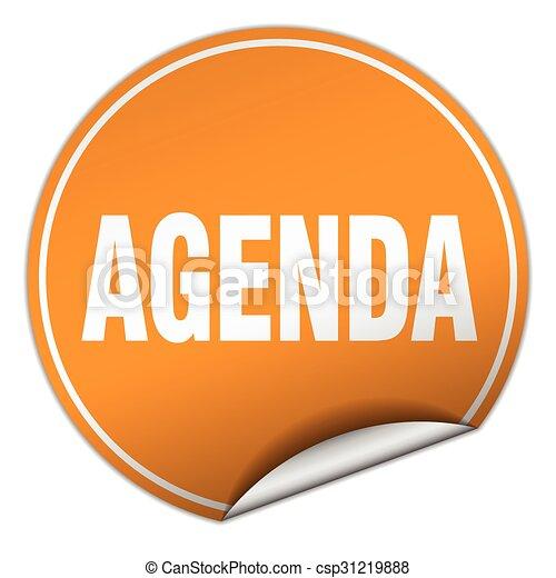 agenda round orange sticker isolated on white - csp31219888
