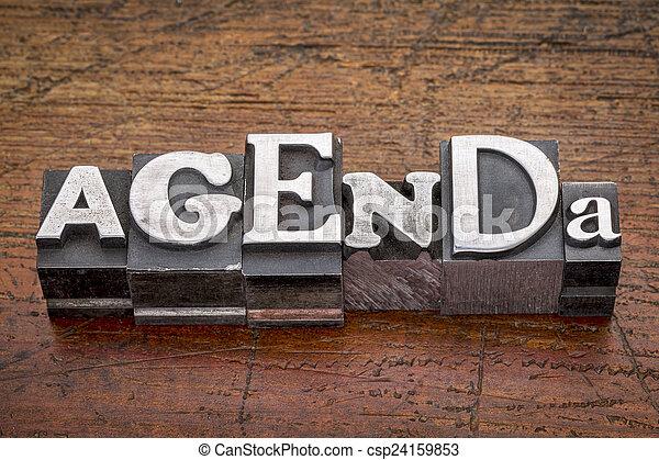 agenda word in metal type - csp24159853
