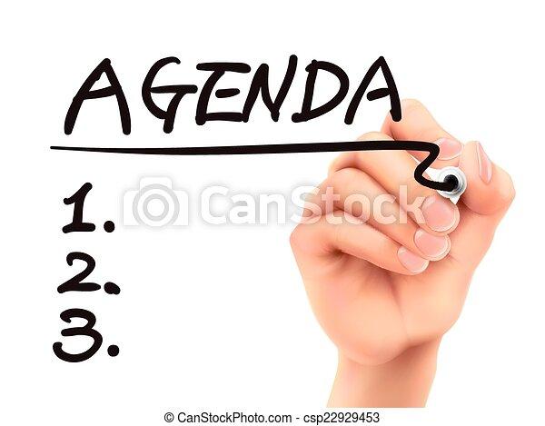 agenda word written by 3d hand  - csp22929453