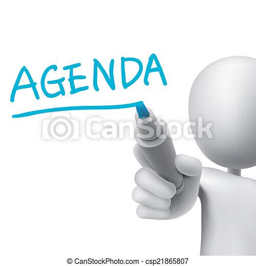 agenda word written by 3d man - csp21865807