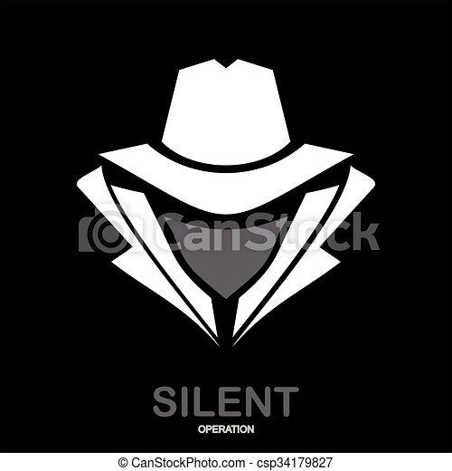 El icono del agente secreto. Incognito. Hacker. Agente espía. Encubierto. - csp34179827