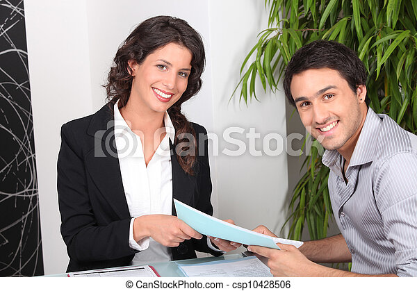 Agent and client discussing a deal - csp10428506