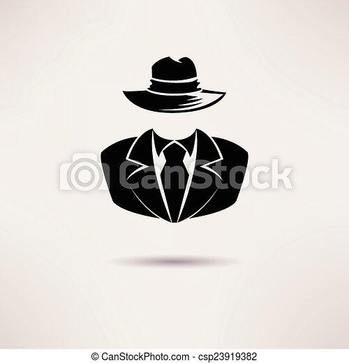 Icon Spion, Geheimagent, die Mafia Vector Ikone. - csp23919382