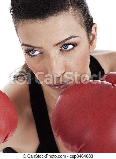 Aggressive boxing woman - csp3464083