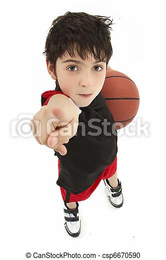 Aggressive Boy Child Basketball Player Close Up - csp6670590