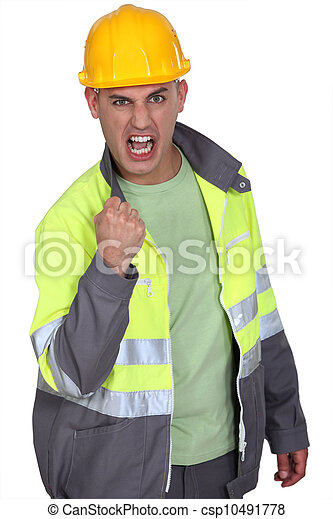 Aggressive construction worker rejoicing - csp10491778