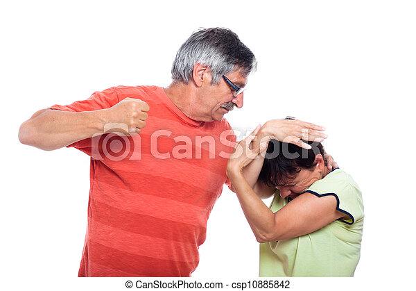 Aggressive man and unhappy woman - csp10885842