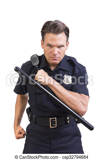 Aggressive police officer - csp32794684